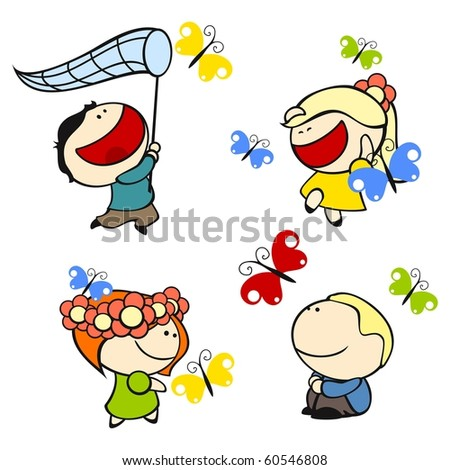 Funny kids #9 - butterflies (raster version) - stock photo