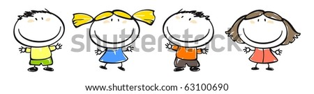 Funny kids #30 - child's drawing (raster version) - stock photo
