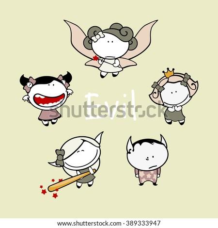 Funny kids #83 - evil creatures (raster version) - stock photo