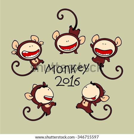 Funny kids #80 - Monkey - stock photo