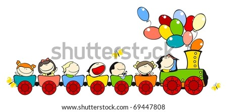 Funny kids #31 - train for friends (raster version) - stock photo