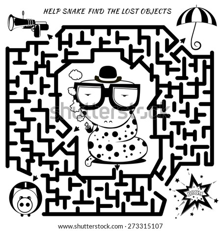 Funny labyrinth. Help the detective snake find the lost object.  cartoon snake illustration. Rebus in black color on Isolated background - stock photo
