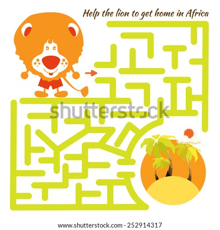 Funny labyrinth. Help the lion to get home in Africa and get out of the maze. Funny cartoon character. Rebus illustration. On white background - stock photo