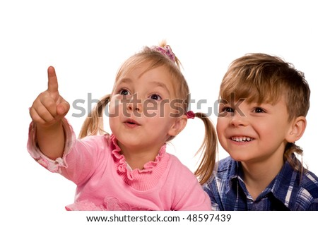 Funny little boy and girl. Good for borders of articles or websites. Beautiful caucasian model. Isolated on white background. - stock photo