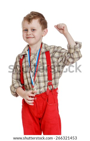 Funny little boy in red shorts with straps.- isolated on white background - stock photo
