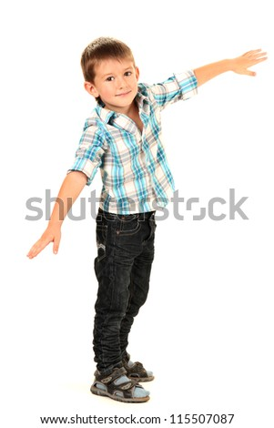 funny little boy isolated on white - stock photo