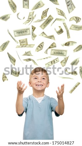 Funny little boy over white background - stock photo