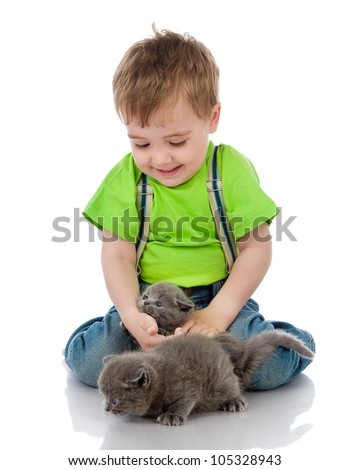 funny little boy playing with british kittens . isolated on white background - stock photo