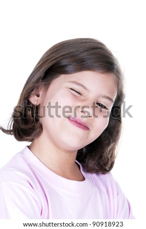 Funny little girl. Good for Oon white background - stock photo