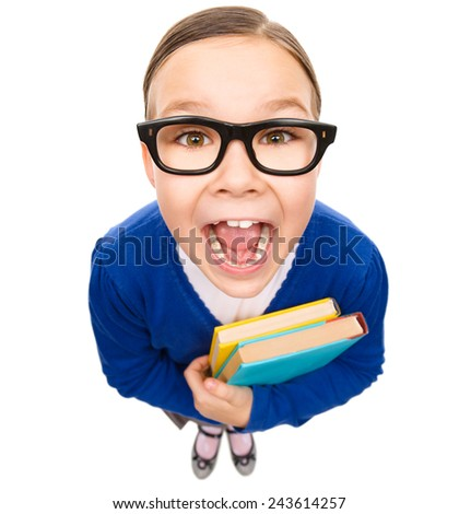 Funny little girl is holding books and screaming, fisheye portrait, isolated over white - stock photo