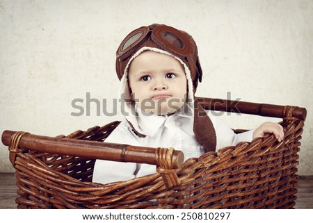 Funny little pilot - stock photo