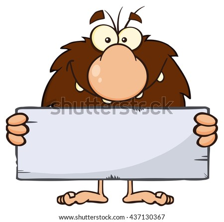 Funny Male Caveman Cartoon Mascot Character Holding A Stone Blank Sign. Raster Illustration Isolated On White Background - stock photo