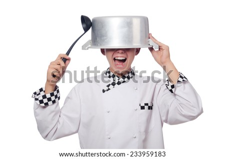 Funny male cook isolated on white - stock photo