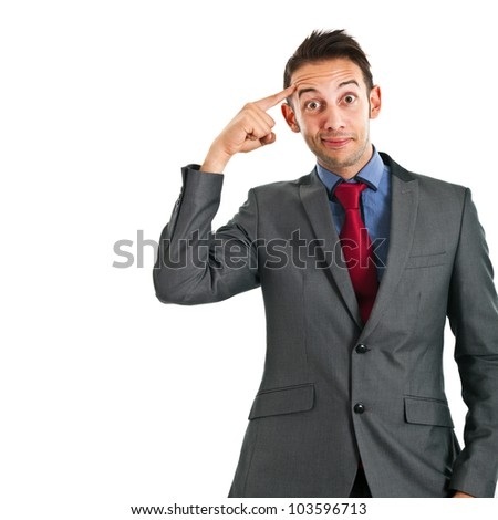 Funny man having an idea - stock photo