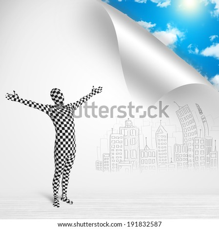 Funny man in body suit escaping from city to nature concept - stock photo