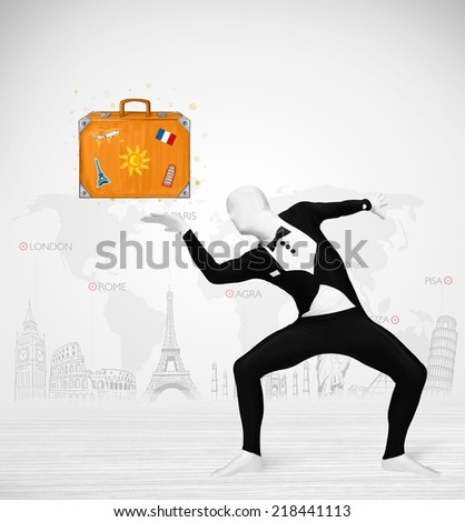 Funny man in full body suit presenting vacation suitcase, tourist attractions in background - stock photo