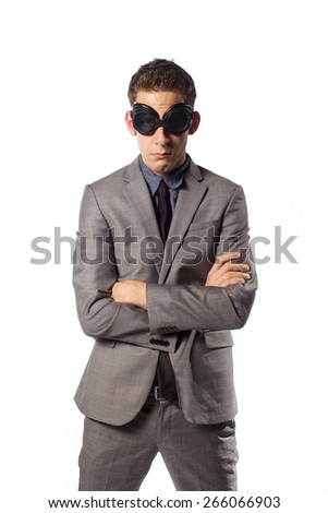 funny man in glasses in gray suit on white background  - stock photo