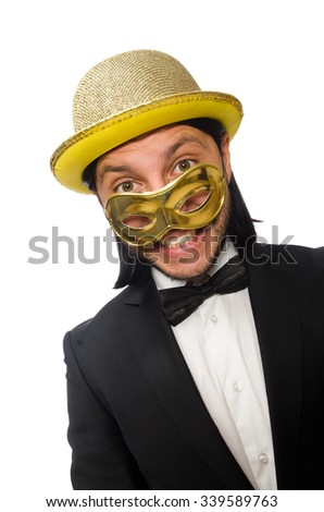 Funny man wearing mask isolated on white - stock photo