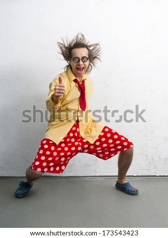 Funny man with a bright clothes - stock photo