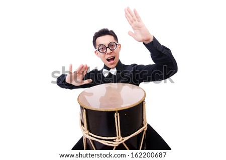 Funny man with drum on white - stock photo