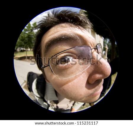 Funny man with eyeglasses - stock photo