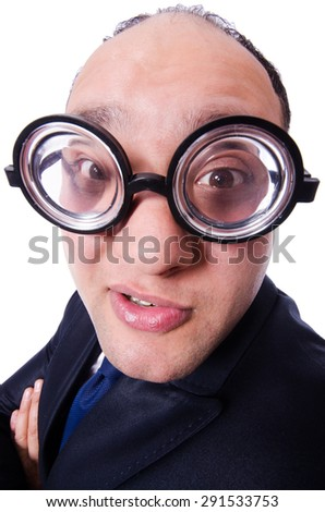 Funny man with glasses isolated on white - stock photo