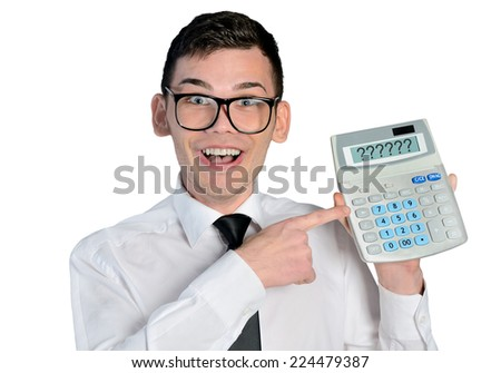 Funny man with hand calculator - stock photo