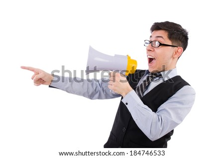 Funny man with loudspeaker on white - stock photo