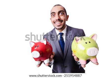 Funny man with piggybank on white - stock photo
