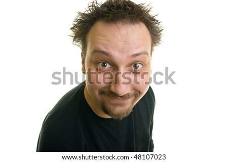 funny man with the beard looks happy - stock photo