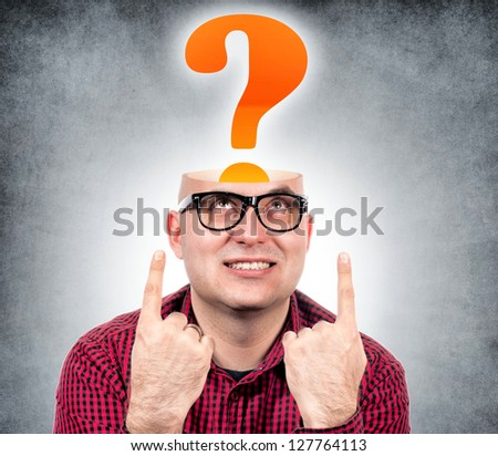 Funny man with the opened head and question mark - stock photo