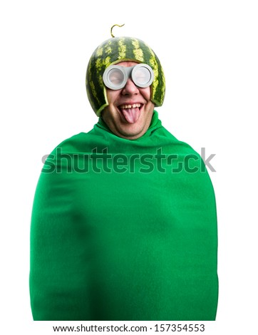 Funny man with watermelon helmet and googles looks like a parasitic caterpillar. Isolated on white - stock photo