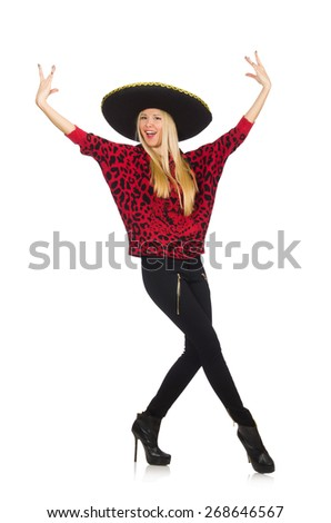 Funny mexican woman wearing sombrero isolated on white - stock photo