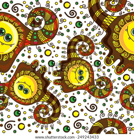 Funny monster seamless pattern doodle on a colorful background - stock photo