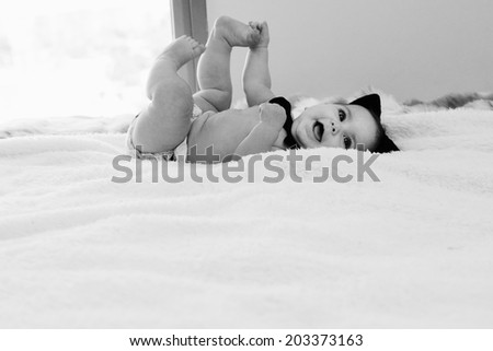 Funny 6 month old baby - stock photo