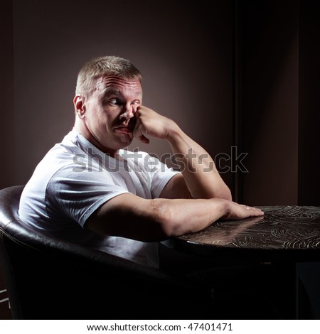 Funny muscular man - stock photo