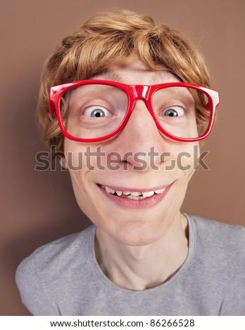 Funny nerdy guy - stock photo