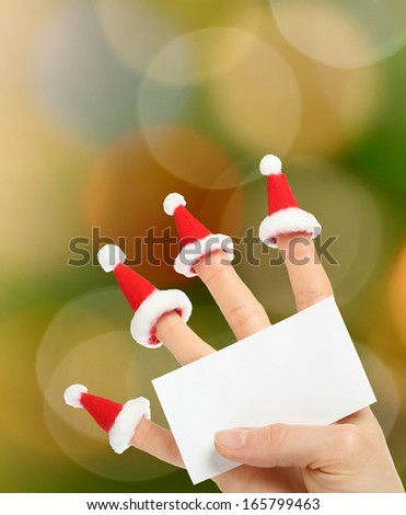 Funny New year greeting against multicolor lights - stock photo