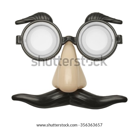 Funny Nose, Glasses and Mustache Disguise Front View Isolated on a White Background. - stock photo