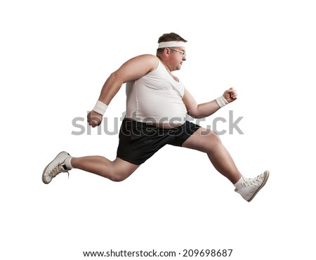 Funny overweight man speeding isolated on white background - stock photo