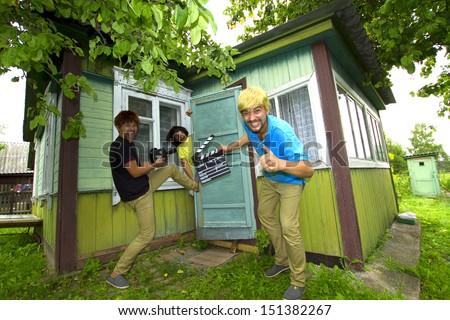 funny parody of the film shoot - stock photo