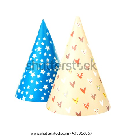 Funny party hats, isolated on white - stock photo