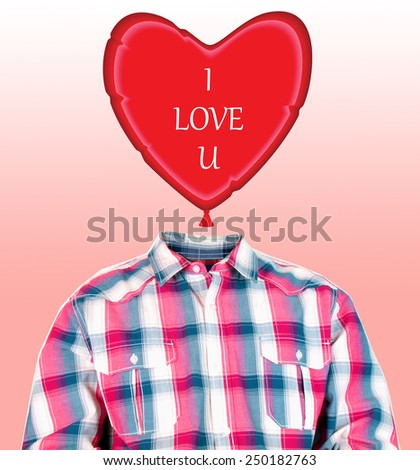 funny photo manipulation of a man's body with a heart balloon as his head - stock photo