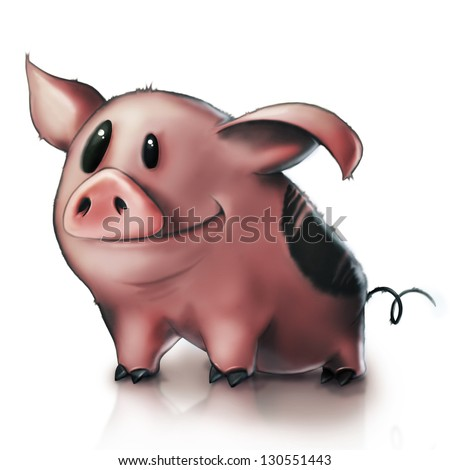 Funny Pink Cartoon Pig Isolated on White Background - stock photo