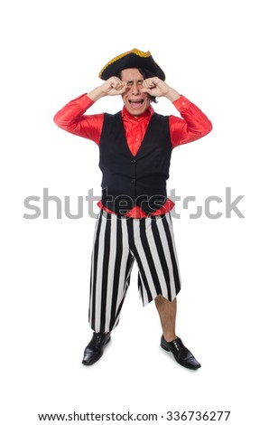 Funny pirate isolated on the white - stock photo