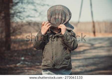 funny portrait of a baby, photo in vintage style - stock photo
