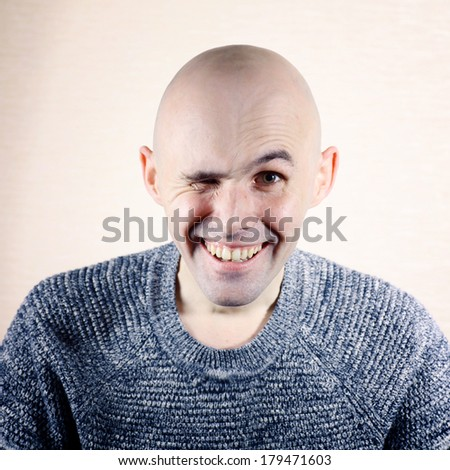 Funny portrait of a bald - stock photo