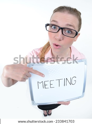 funny portrait of a young women showing something on a clipboard - fisheye shoot - stock photo