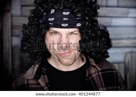 Funny portrait of guy - stock photo