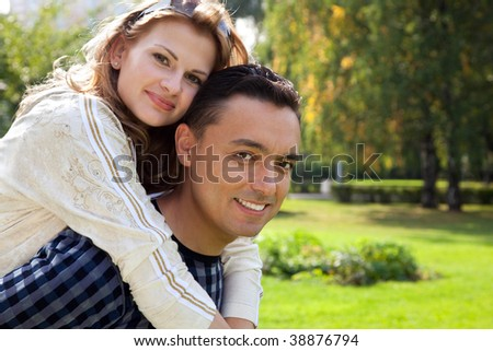 funny portrait of married couple - stock photo